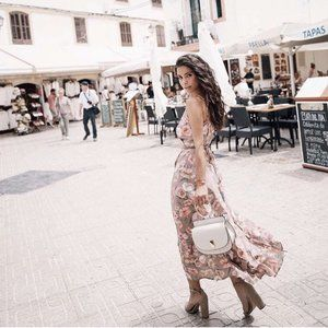 We Are Kindred Maggie Wrap Midi Blush Floral Dress